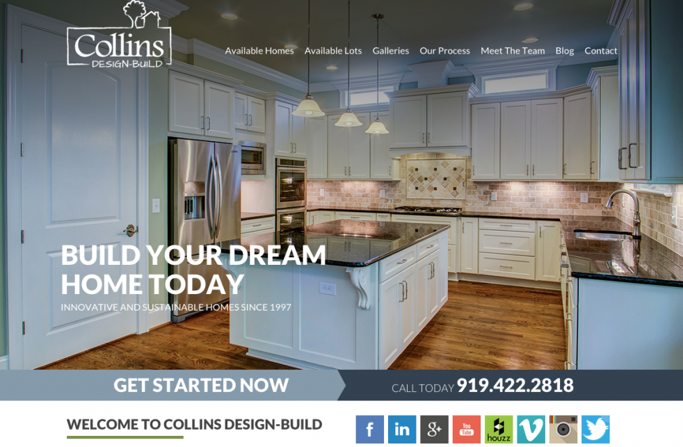 Collins design build launches new home builder website for Home plan websites
