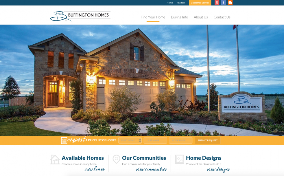 Buffington homes launches new home builder website for Home builder website