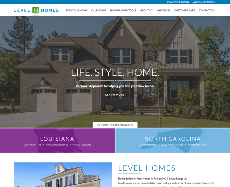 Home Builder Website Level Homes