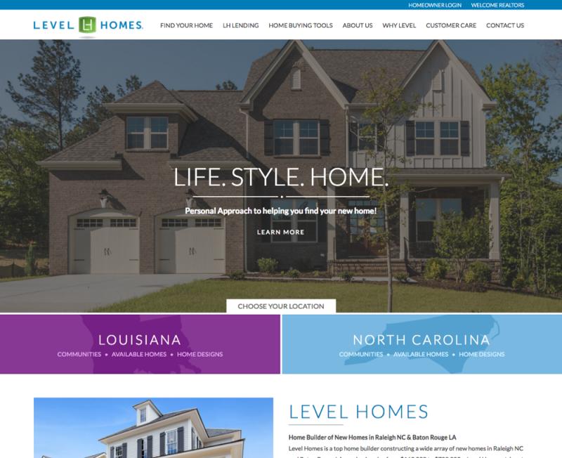 Home Builder Website Level Homes
