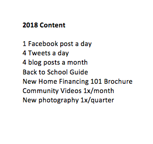 2018 content plan